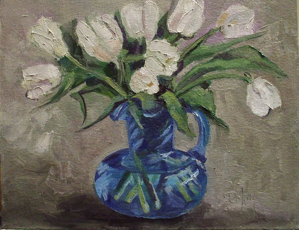 """Cerulean Glass with Tulips"" original fine art by Cheryl Williams Dolan"