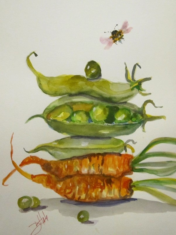 """Peas and Carrots"" original fine art by Delilah Smith"