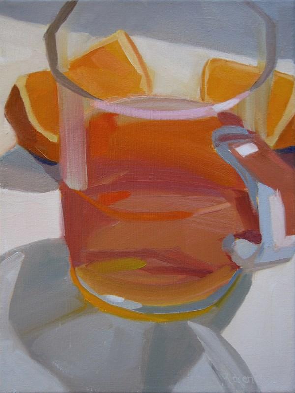 """Peach Tea and Orange Slices"" original fine art by Robin Rosenthal"