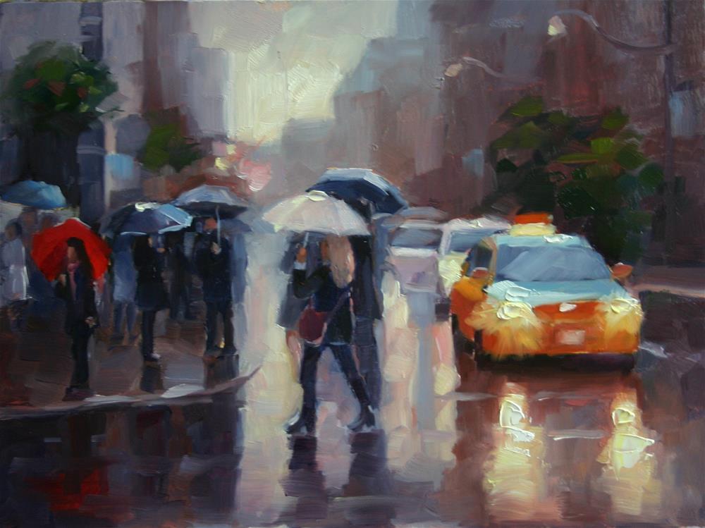 """Rainy Saturday at The Toronto International Film Festival"" original fine art by Catherine Jeffrey"
