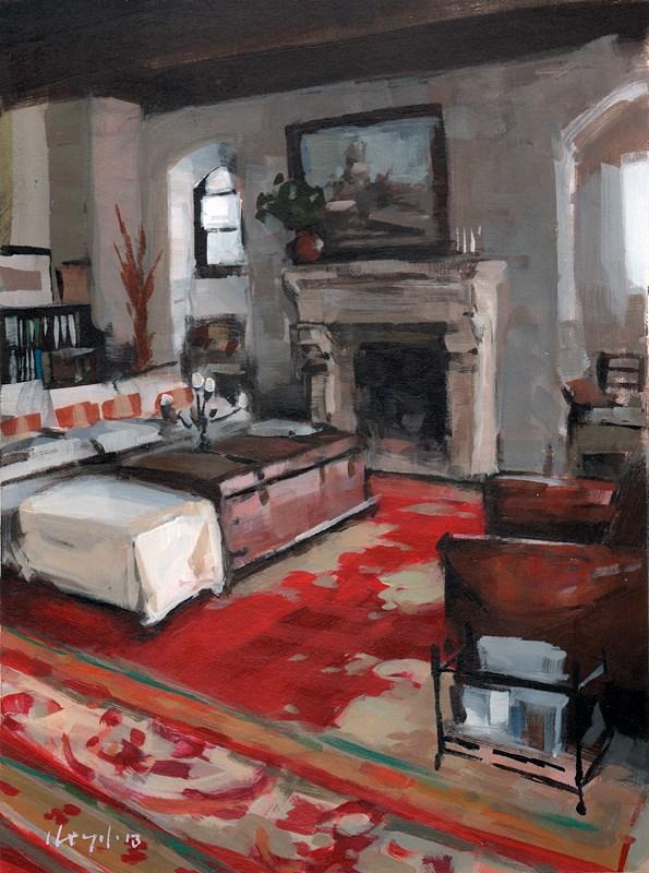 """Rustic Interior with Red Carpet"" original fine art by David Lloyd"