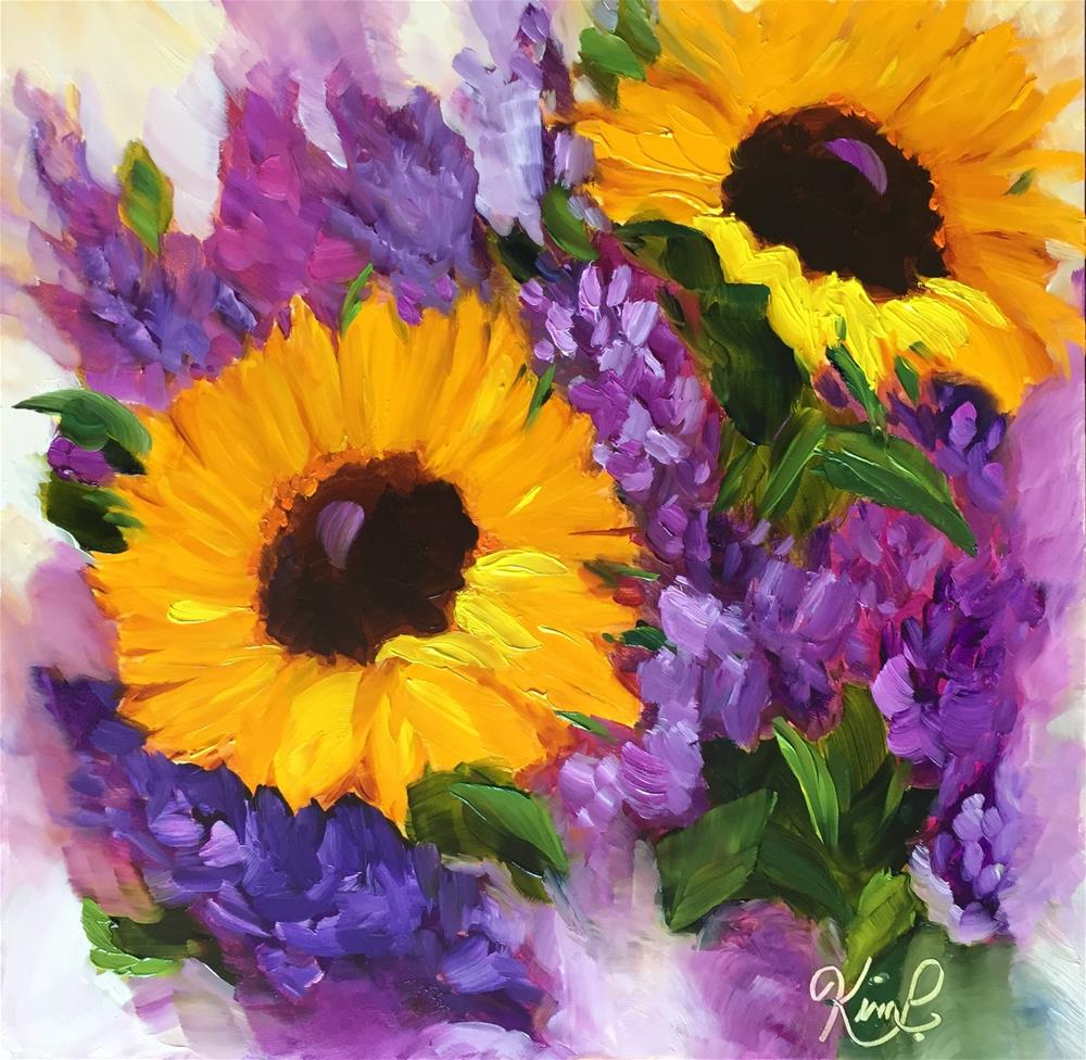 """""""Sunflowers and Lilacs"""" original fine art by Kim Peterson"""