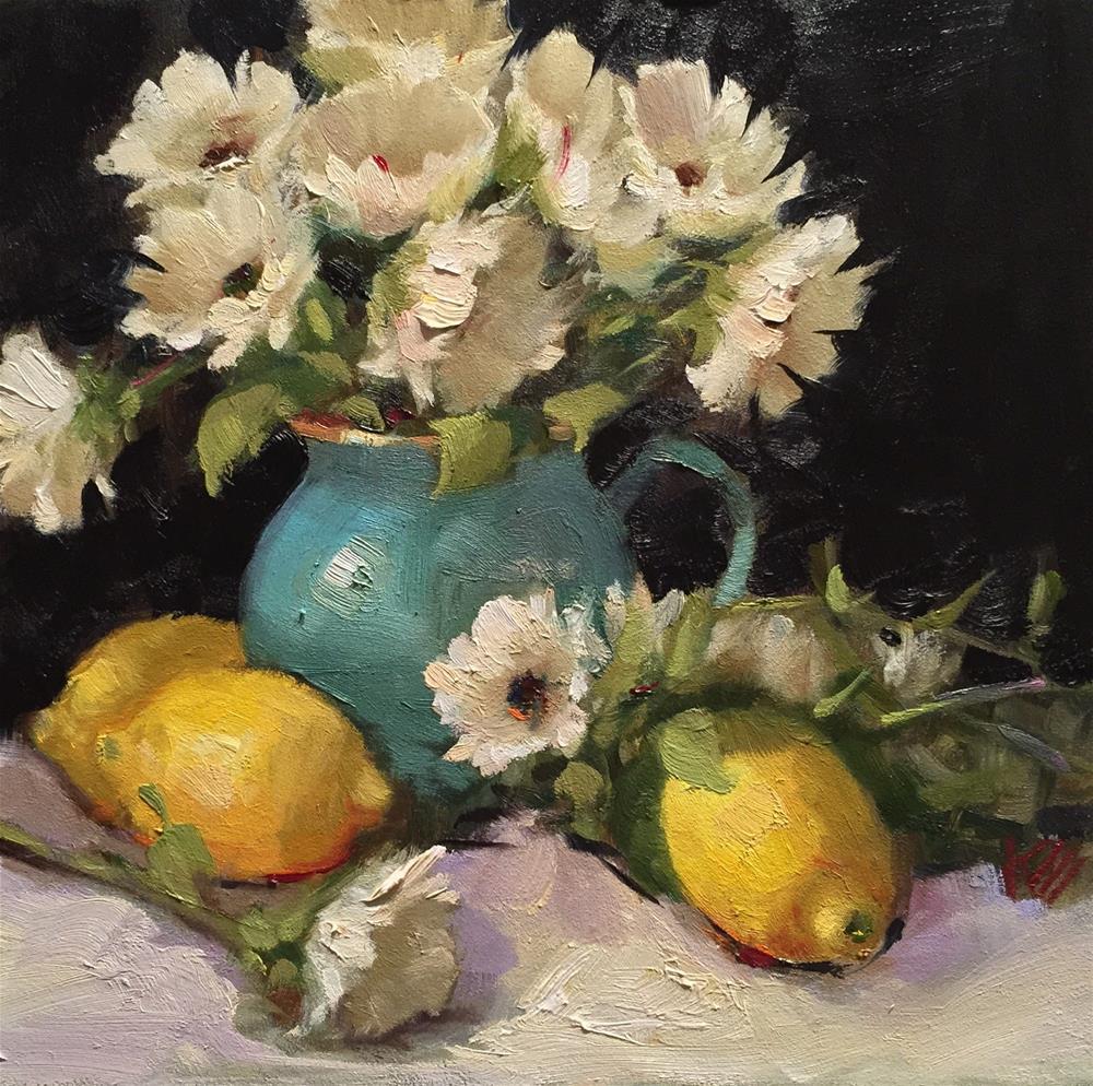 """Daisies in Teal pot"" original fine art by Krista Eaton"
