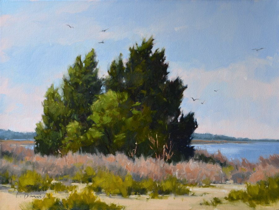 """River Marsh - Enlarged Studio Version"" original fine art by Laurel Daniel"