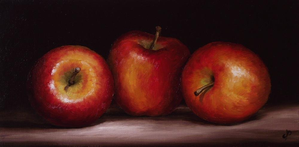 """Three Apples"" original fine art by Jane Palmer"