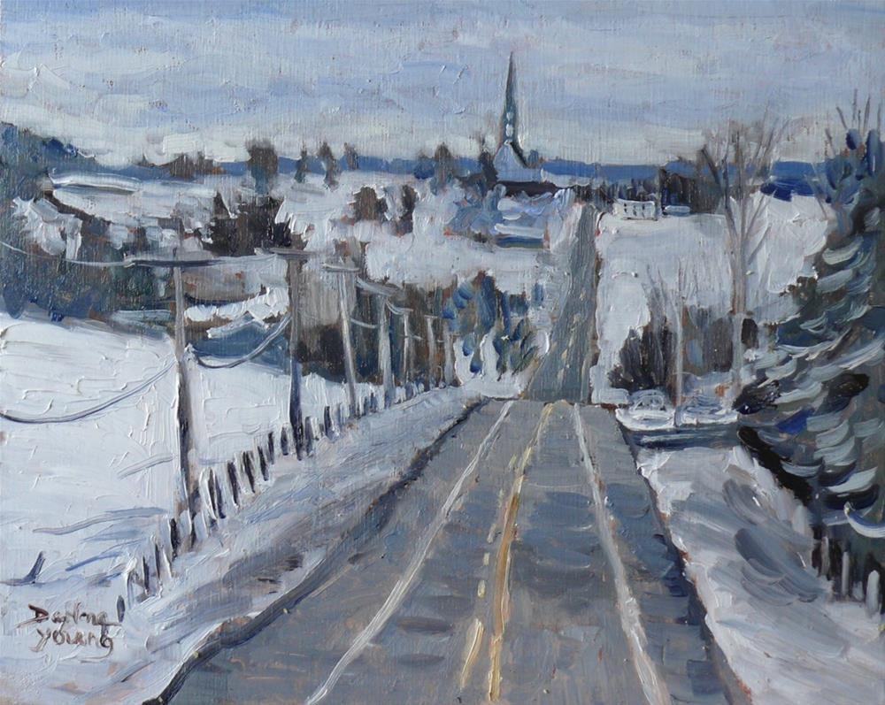 """923 Quebec Winter Scene, Beauce Region, oil on board, 8x10"" original fine art by Darlene Young"