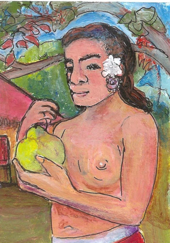 """ACEO Woman & Breadfruit in the style of Gauguin Tahiti Painting Penny StewArt"" original fine art by Penny Lee StewArt"