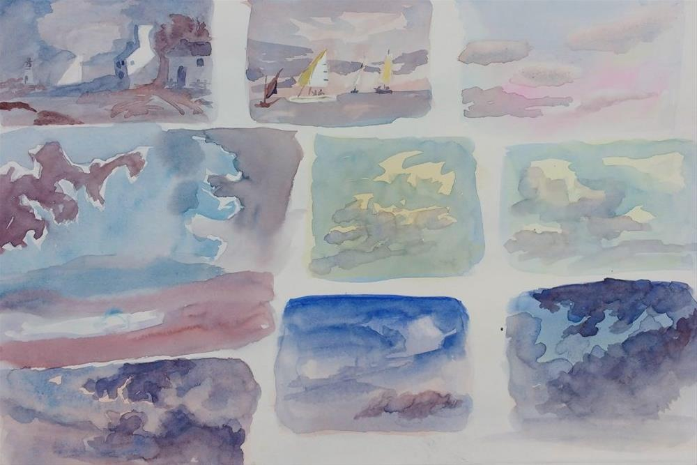 """Cloud Studies II – X"" original fine art by Maria Peagler"