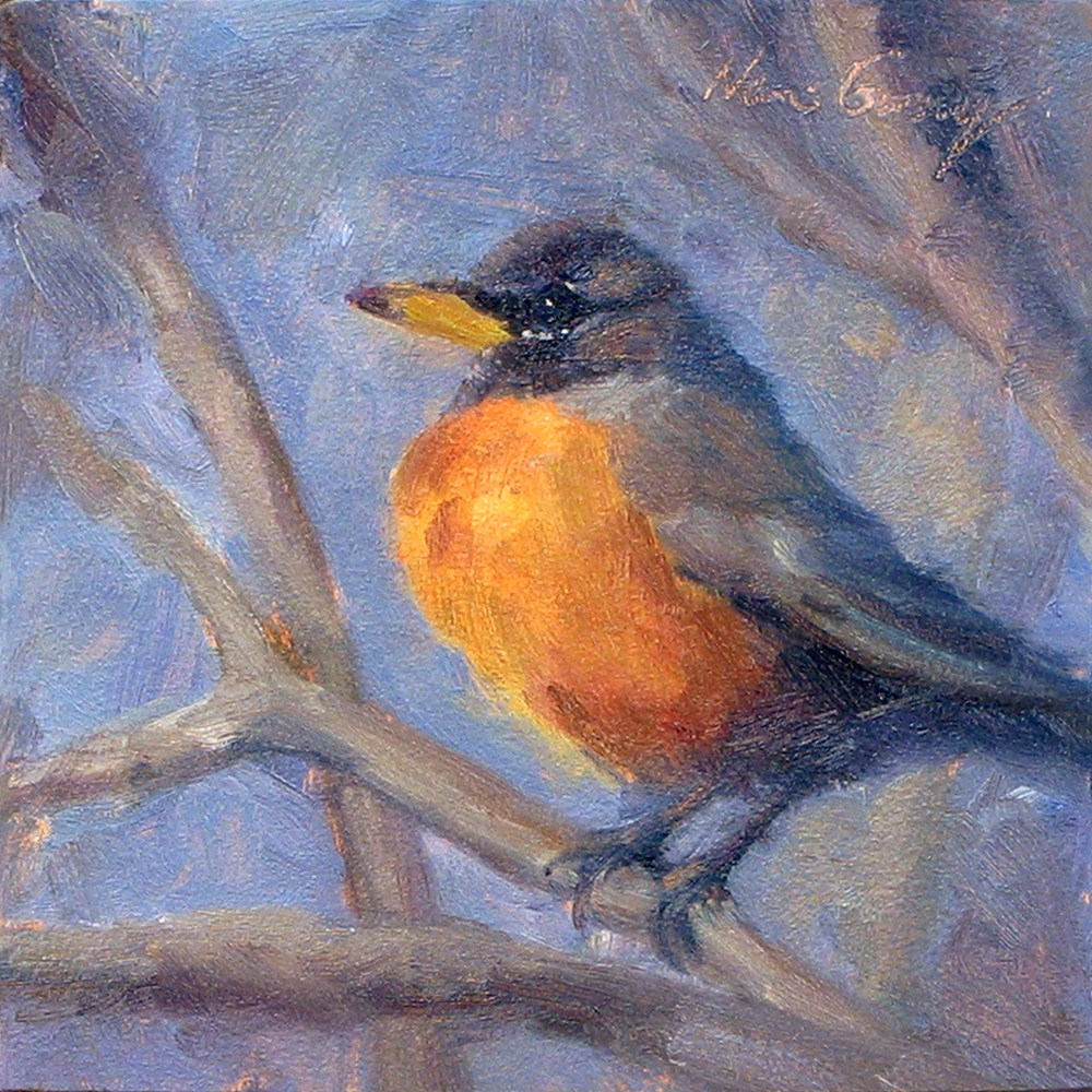 """Backyard Robin No.2"" original fine art by Naomi Gray"