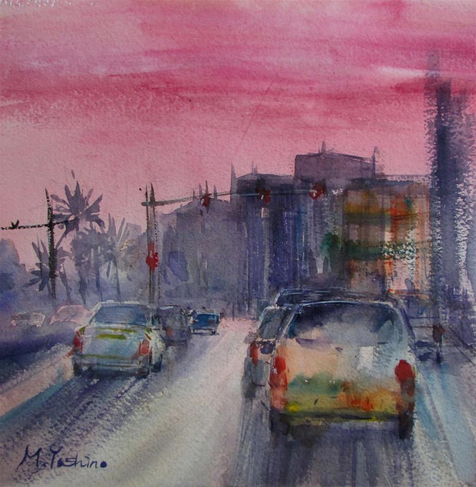 """Down town, Al Ain"" original fine art by Midori Yoshino"