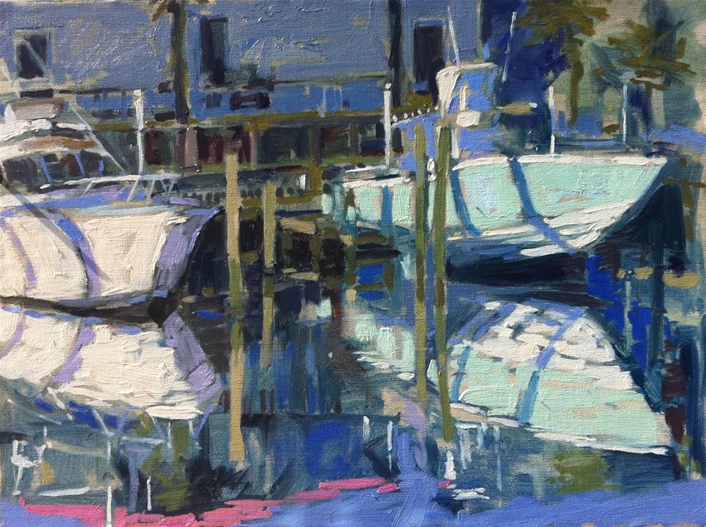 """Early morning light at the Marina"" original fine art by Haidee-Jo Summers ROI"