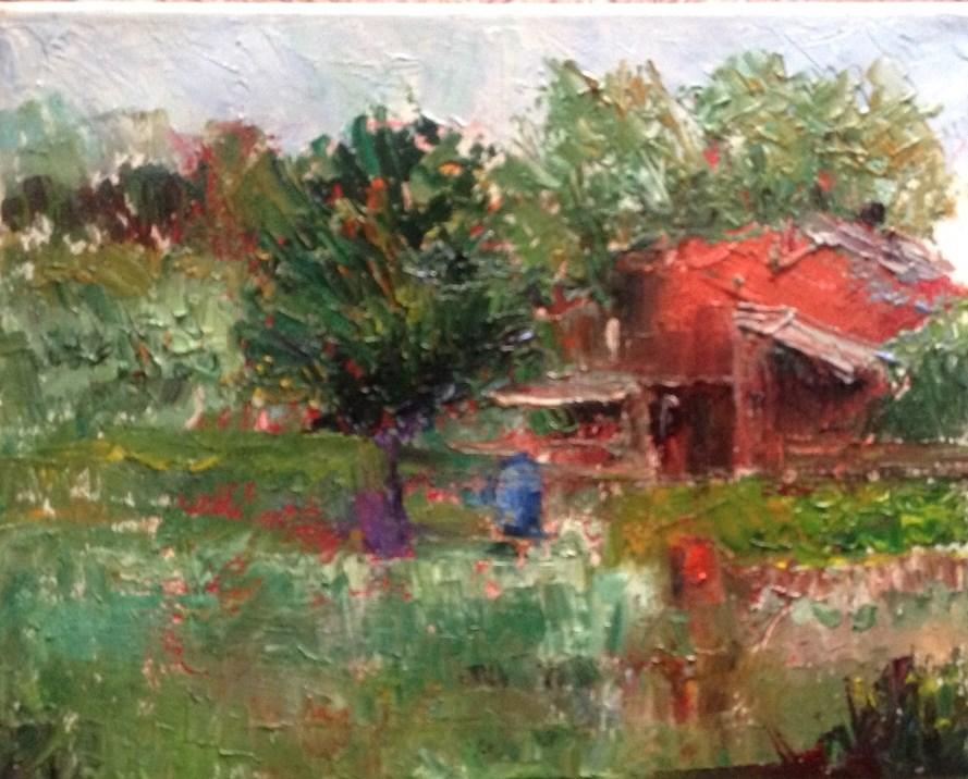 """Three Water Barrels"" original fine art by Judy Usavage"