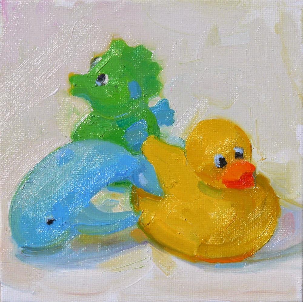 """Bath Toys,still life,oil on canvas,6x6,price$150"" original fine art by Joy Olney"