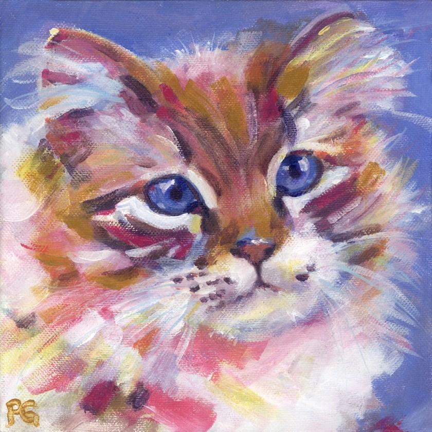 """""""Kolorful Kitten"""" original fine art by Pamela Gatens"""