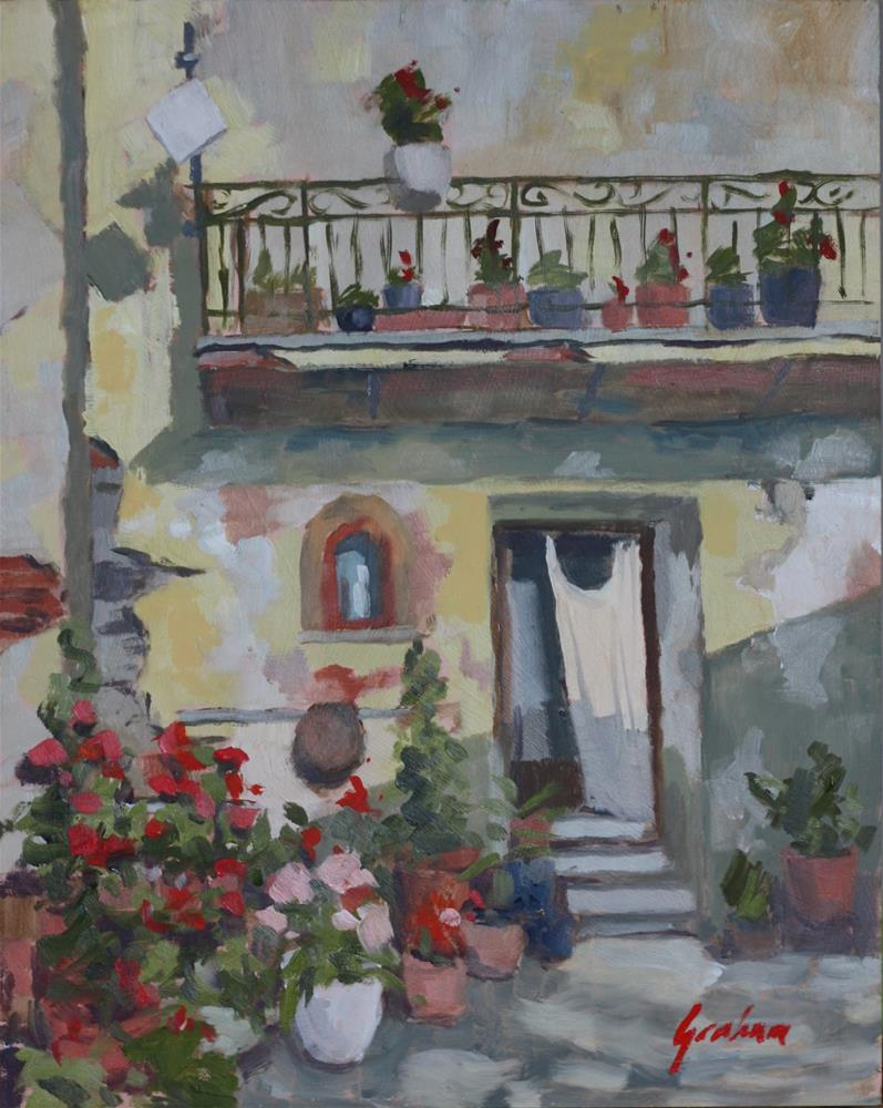 """Evening geraniums, Barga"" original fine art by Graham Townsend"