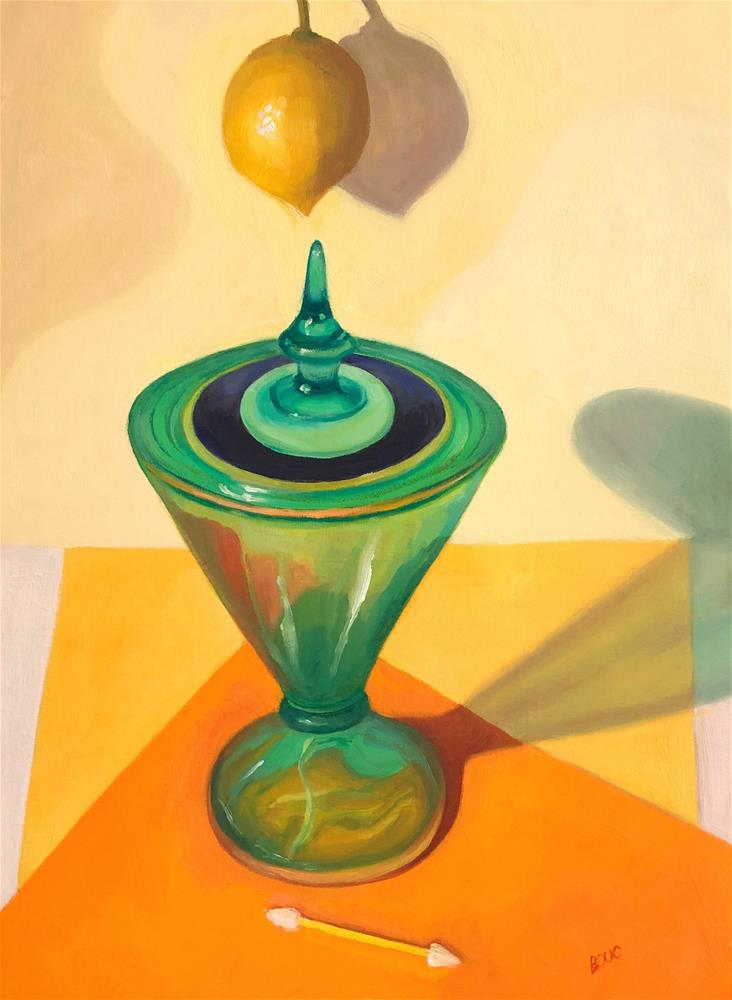 """Hanging Lemon, Candy Dish and a Cosmetic Swab"" original fine art by Jana Bouc"