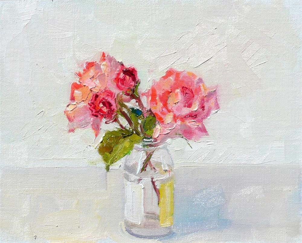 """""""Two Buds and Two Blooms in a Jar,Still life,oil on linen panel,8x10,price$225"""" original fine art by Joy Olney"""