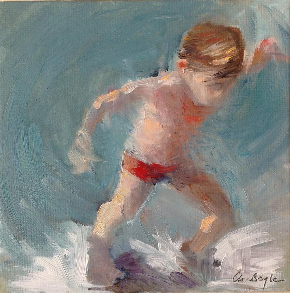 """""""Running in the waves"""" original fine art by Christine Bayle"""