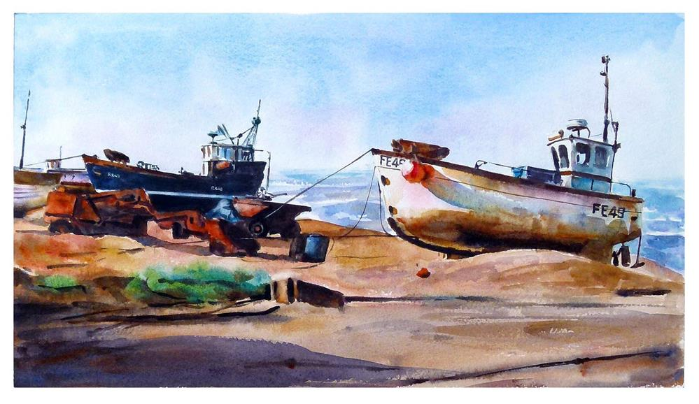 """""""Boats on Hastings beach."""" original fine art by Graham Berry"""