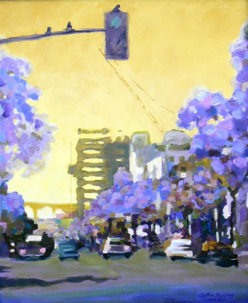 """Streetlight at Dawn"" original fine art by Cynthia Mahlberg"