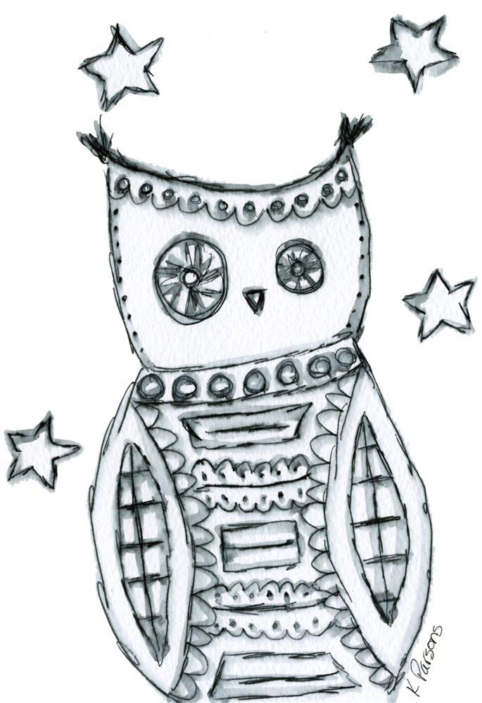 """Steampunk Owl"" original fine art by Kali Parsons"