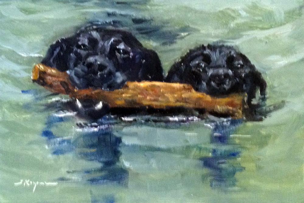 """""""Two on a Log"""" original fine art by Shelley Koopmann"""