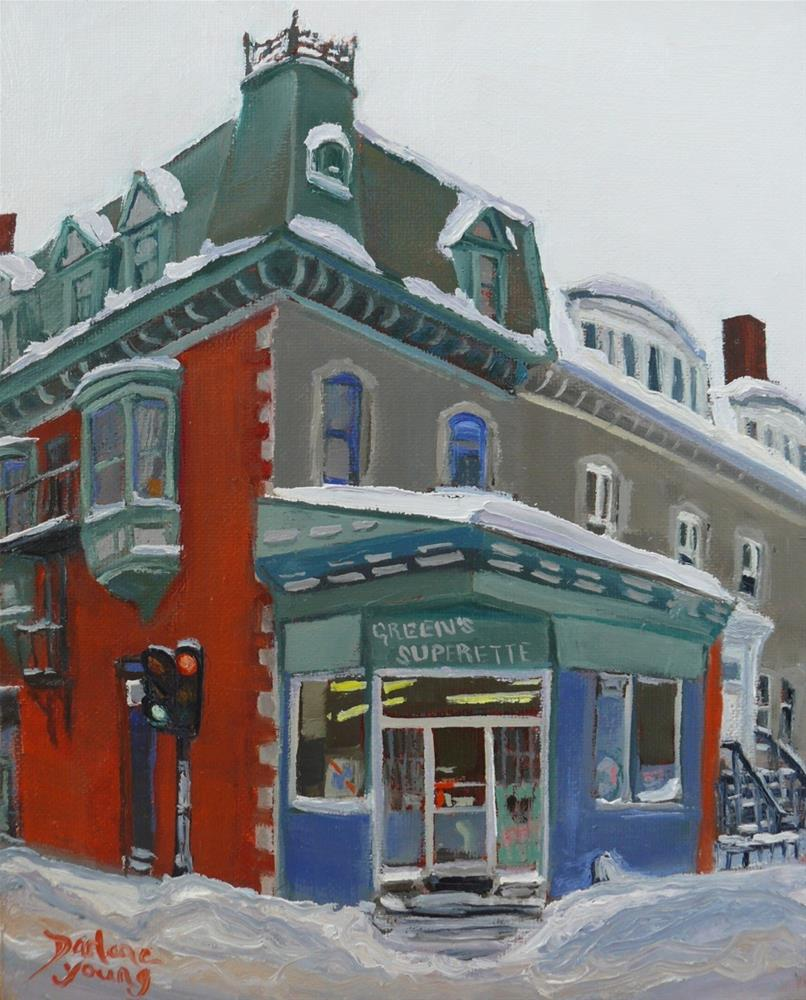 """1044 Green's, McGill Student Ghetto, 8x10 oil on board"" original fine art by Darlene Young"