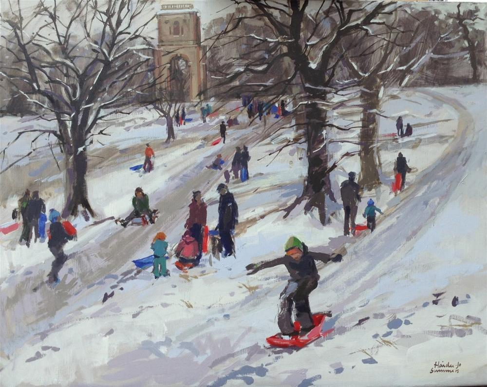 """""""Sledging at Belmont tower"""" original fine art by Haidee-Jo Summers ROI"""