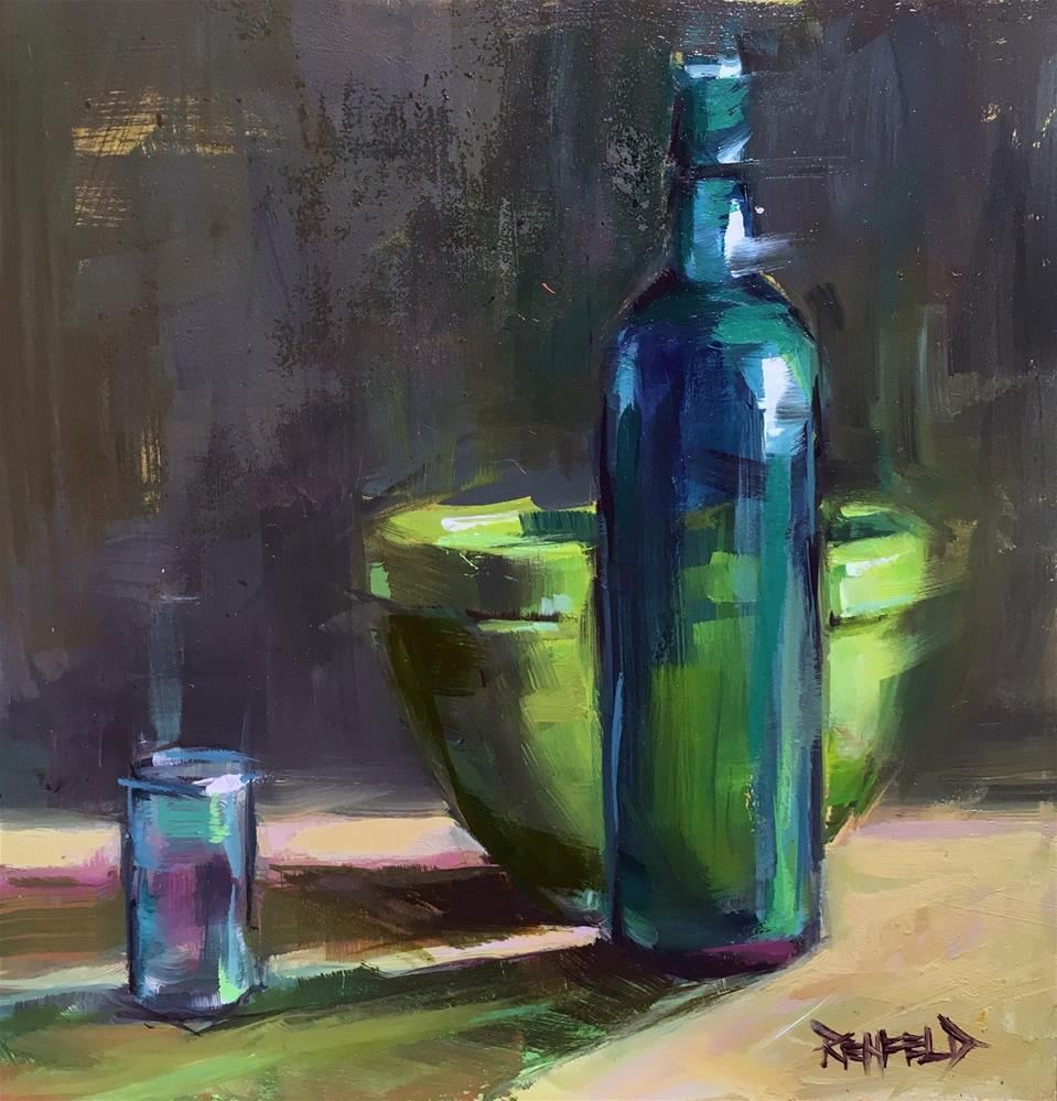 """Green and Turquoise"" original fine art by Cathleen Rehfeld"