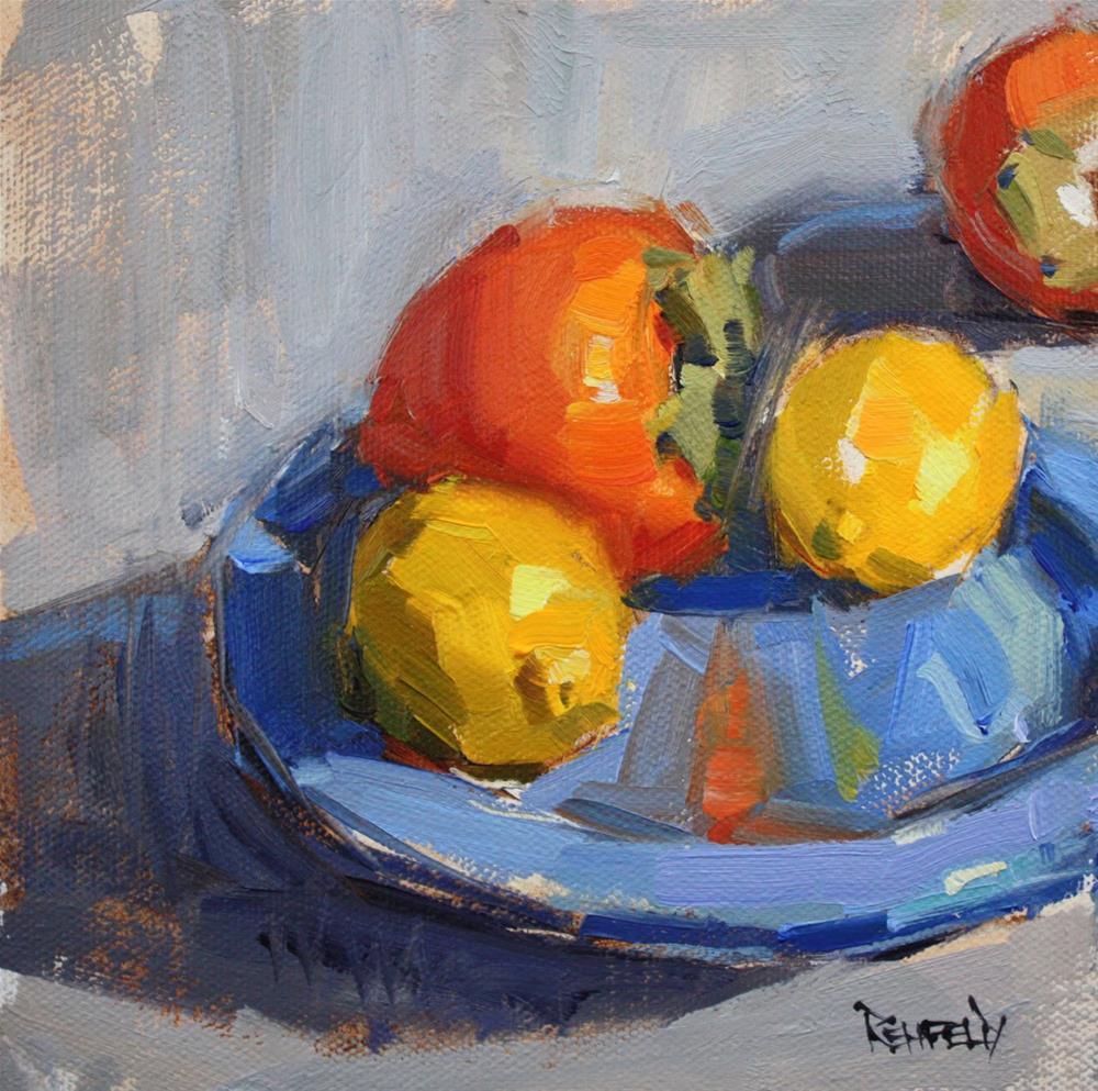 """Persimmons and Lemons"" original fine art by Cathleen Rehfeld"