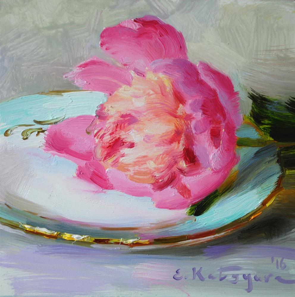 """Peony on a Plate"" original fine art by Elena Katsyura"