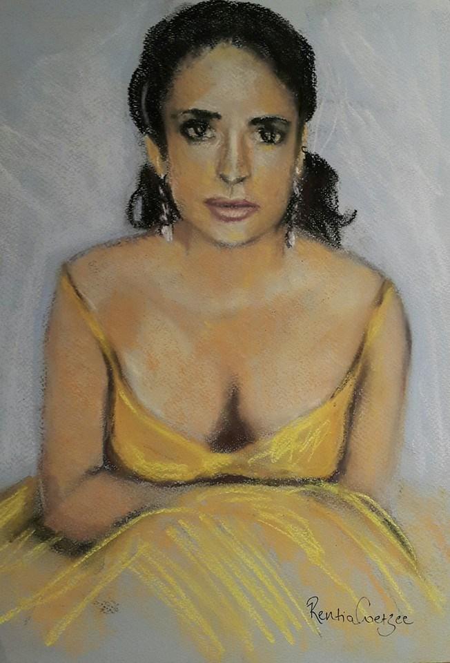 """Yellow dress"" original fine art by Rentia Coetzee"