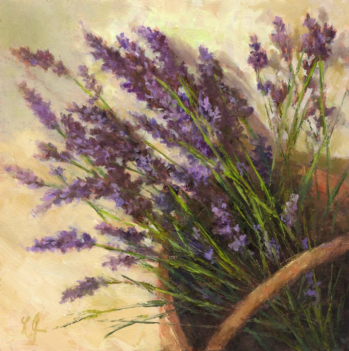 """Basket of Lavenders"" original fine art by Linda Jacobus"