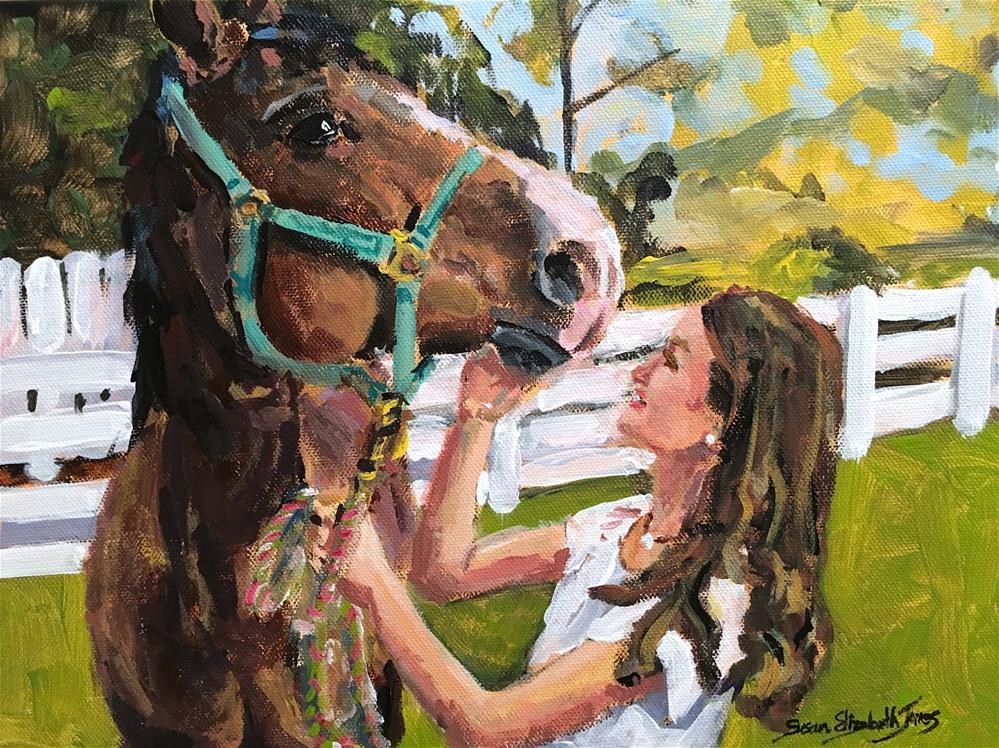 """Foster and Suki on Trotwood"" original fine art by Susan Elizabeth Jones"