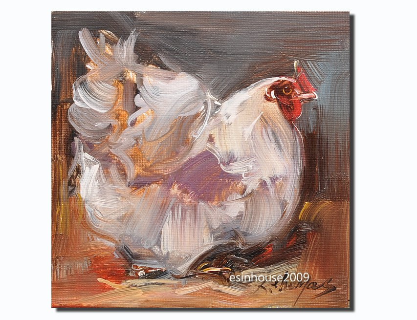 """Rooster Art Chicken Hen Barn Original Oil canvas panel Painting"" original fine art by Thomas Xie"