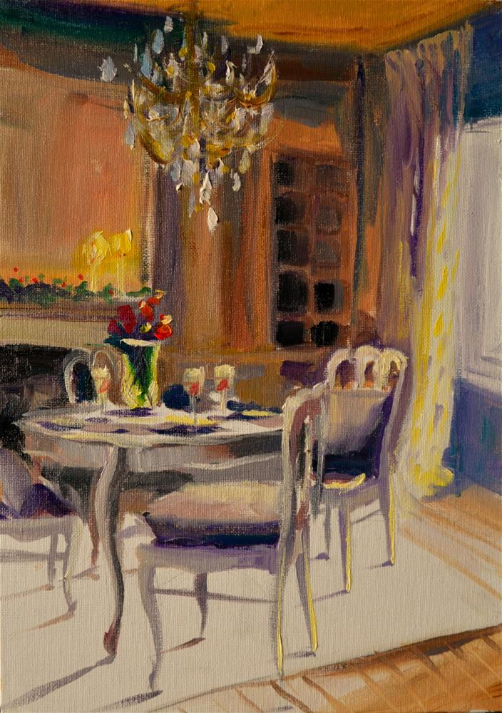 """""""FRENCH DINING ROOM"""" original fine art by Cecilia Rosslee"""