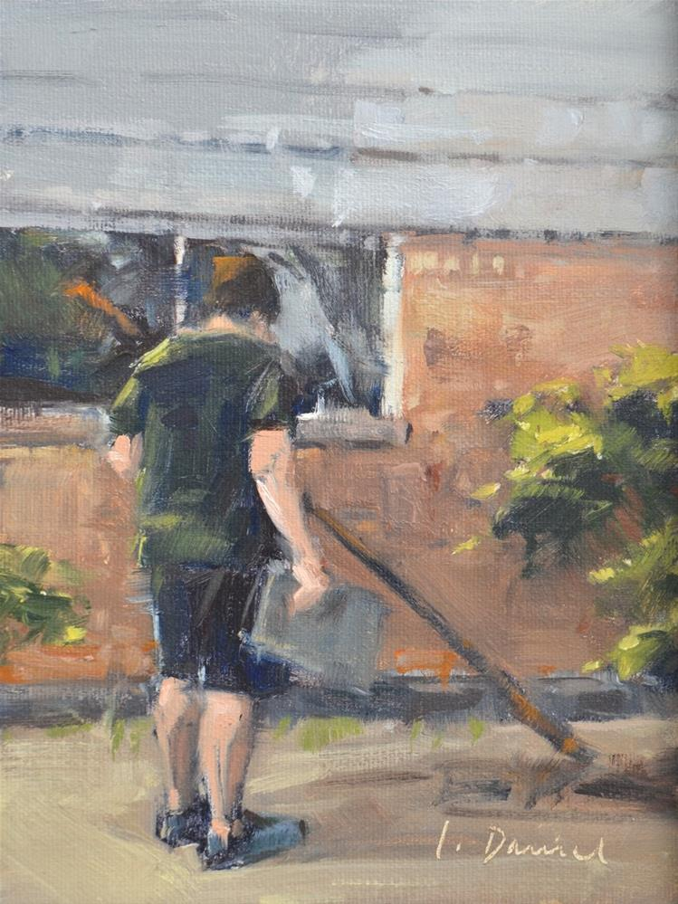 """The Clean Up Crew - men at work"" original fine art by Laurel Daniel"
