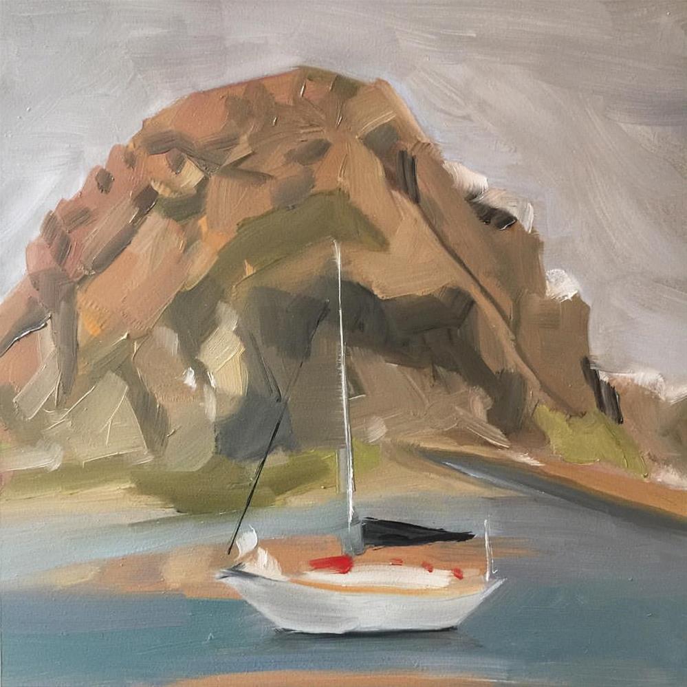"""""""349 Morro Rock"""" original fine art by Jenny Doh"""