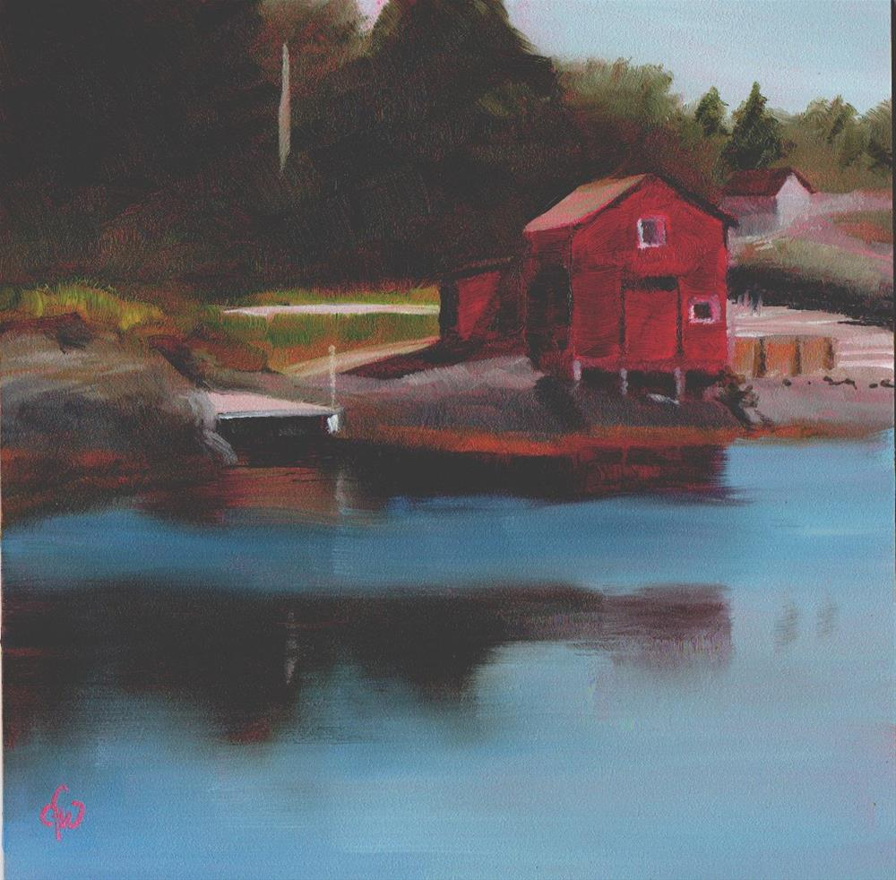 """Red Building on the Shore"" original fine art by Gary Westlake"