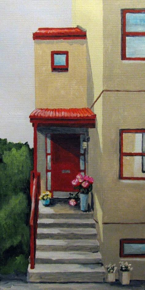 """Red Awning"" original fine art by Nan Johnson"