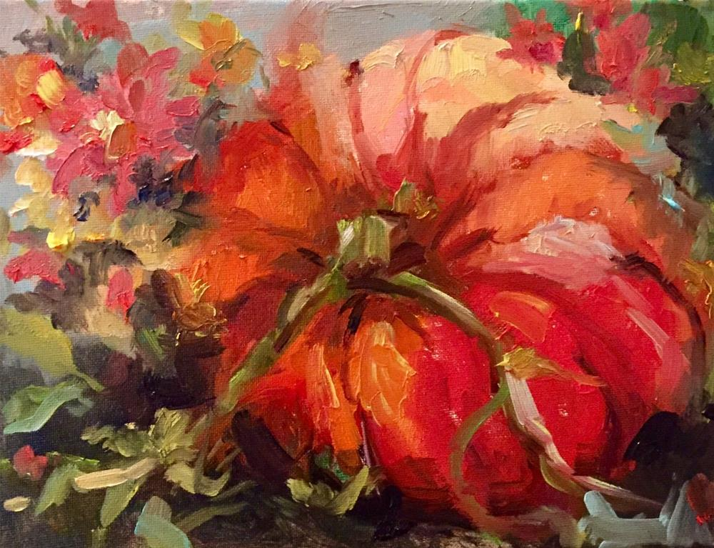"""Pumpkin In the Wildflowers"" original fine art by Marcia Hodges"