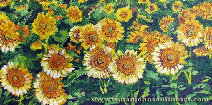 """""""Sunflower Field"""" original fine art by Nan Johnson"""