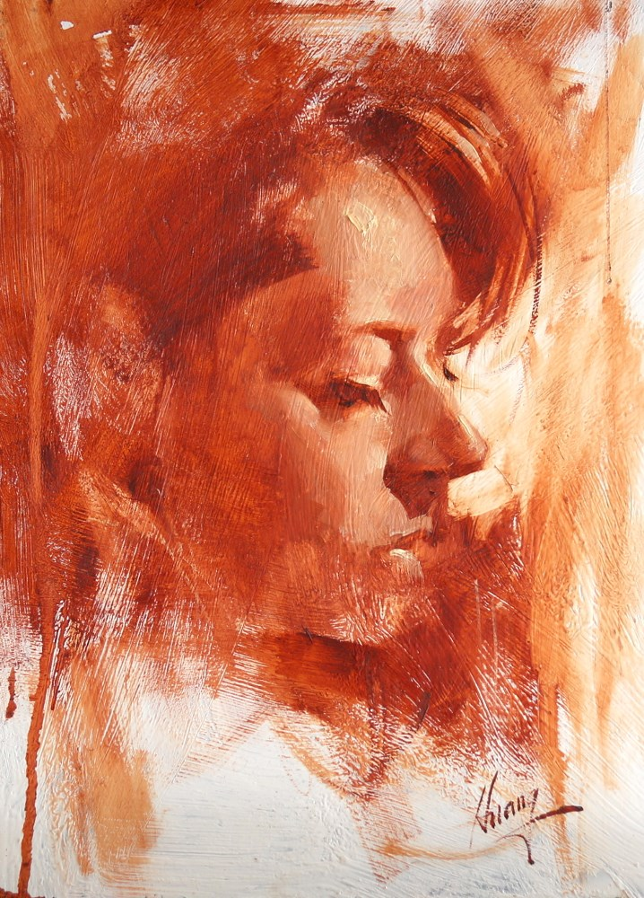 """Head Study 081117"" original fine art by Qiang Huang"