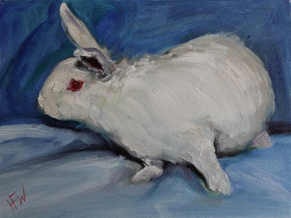 """Pink and White Bunny"" original fine art by H.F. Wallen"