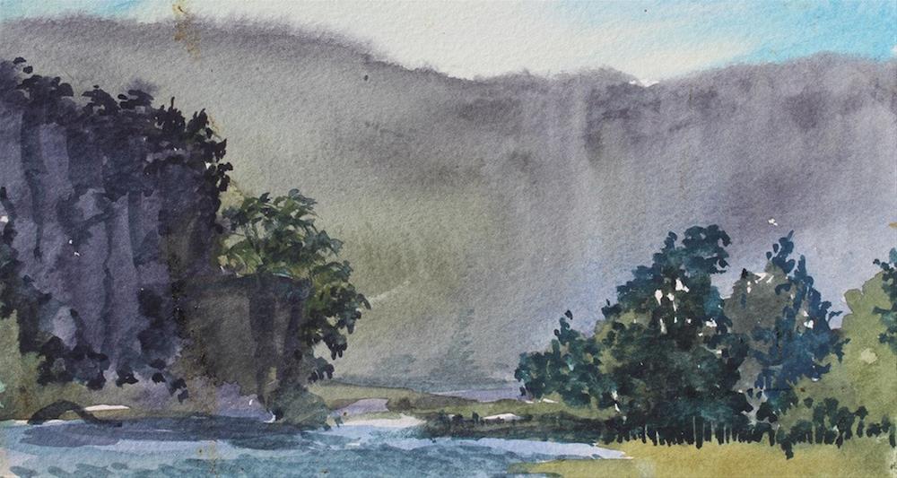 """Buffalo River Mists"" original fine art by Cedar Kindy"