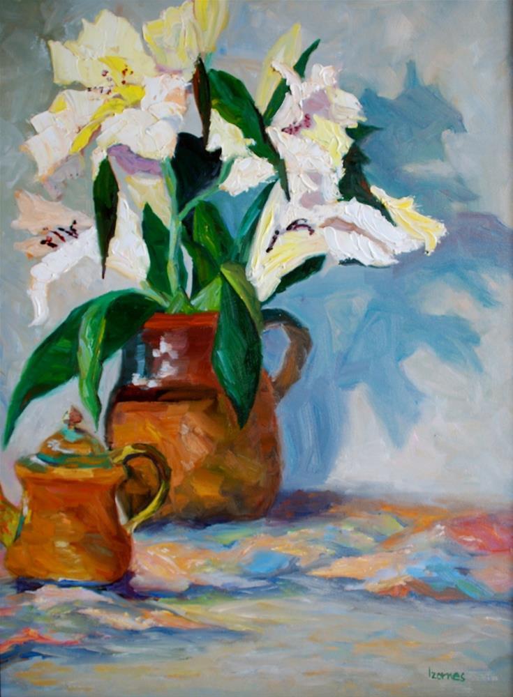"""""""White Lilies in Brown Pitcher"""" original fine art by Liz Zornes"""