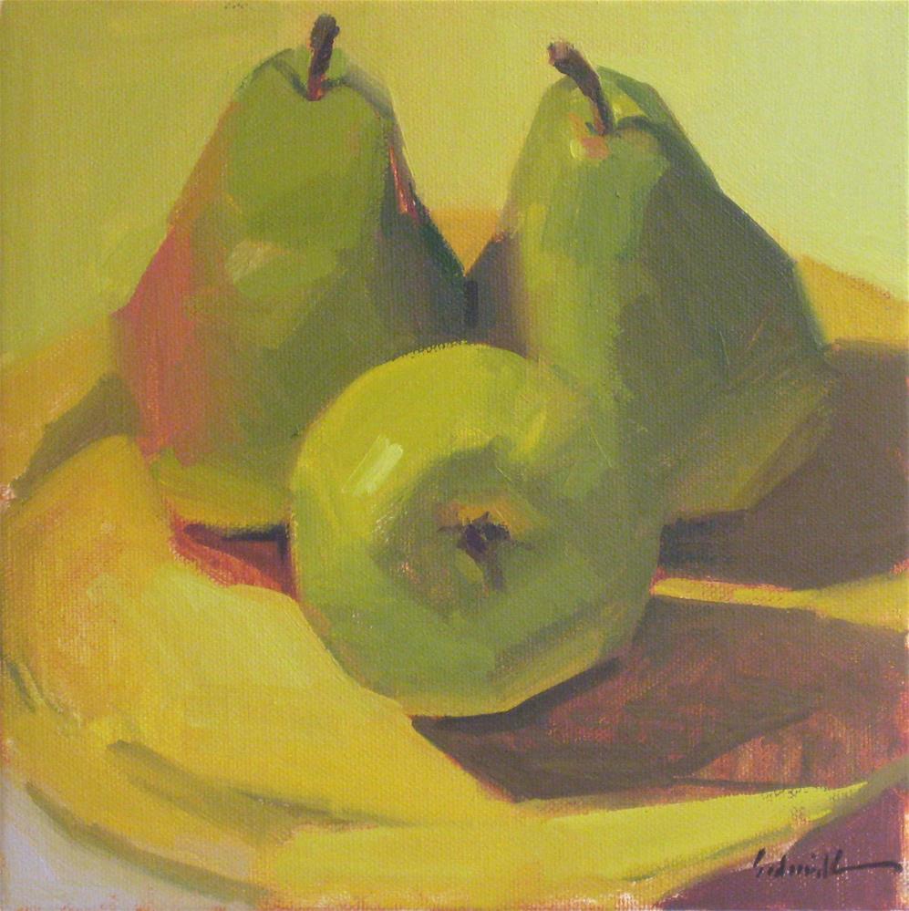 """""""A Trio of Pears (no.2)"""" original fine art by Sarah Sedwick"""