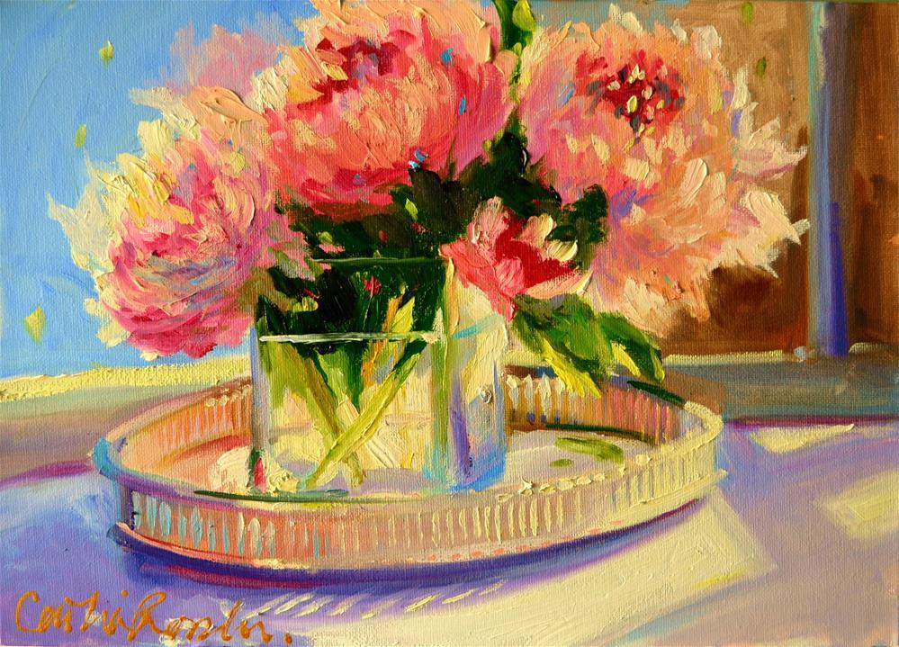 """SUNLIT PEONIES"" original fine art by Cecilia Rosslee"