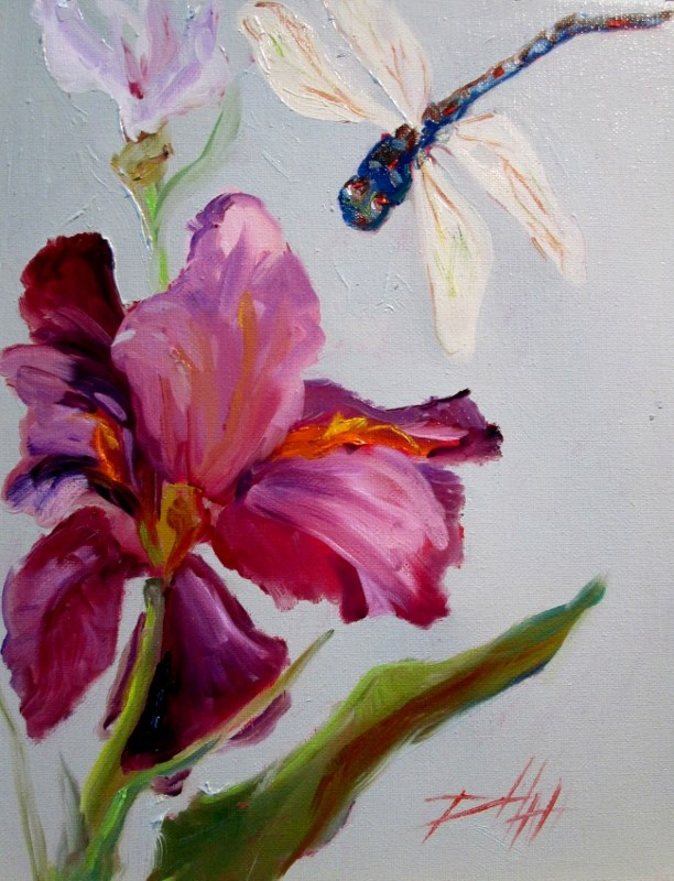"""Iris and Dragonfly"" original fine art by Delilah Smith"