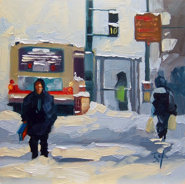 """""""No660 Walking from the stop"""" original fine art by Robin J Mitchell"""